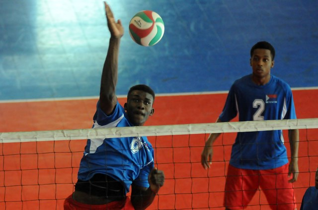 Shaquille Rombley of Dutch Saint Marrten spikes against Britsh Virgin Islands_ 01