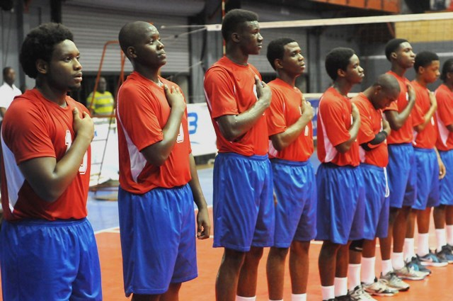 Team Dutch Saint Marrten during the national anthem against Antigua Barbuda