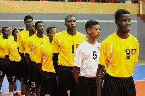Team of Antigua Barbuda during the national anthem against Dutch Saint Marrten